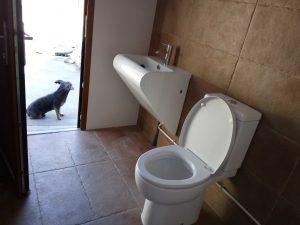 lavabo y water baño barbacoa