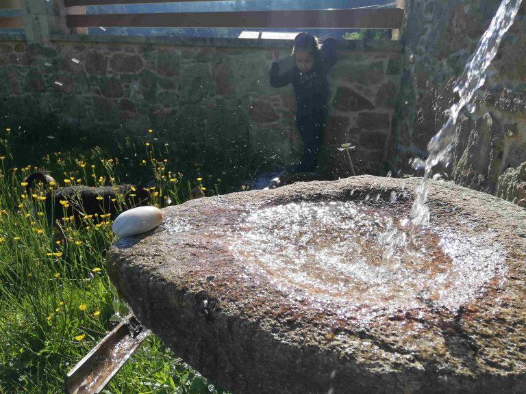 foto de la fuente japonesa en el jardín