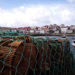 Nasas apiladas en el puerto de Fisterra